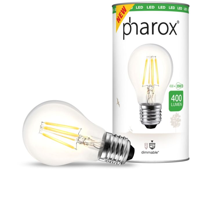 """Pharox""-LED-lempa-skaidrus-E27-4W-400-liumenų"