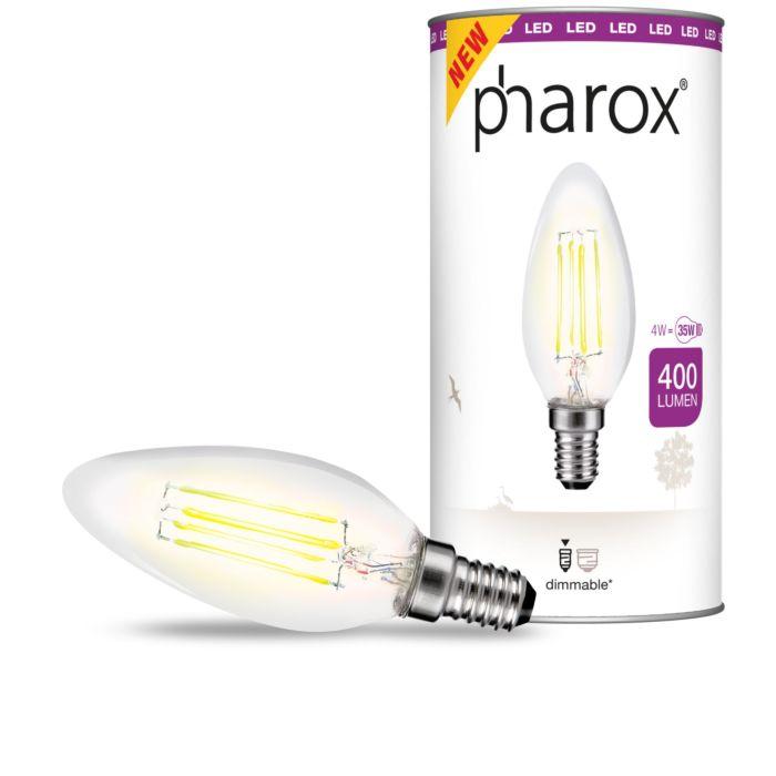 """""""Pharox""""-LED-žvakių-lempa-skaidrus-E14-4W-400-liumenų"""