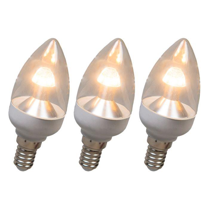 LED-žvakių-lempa-E14-4W-250-liumenų-šilta-balta-Tamsinamas-rinkinys-iš-3