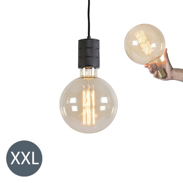 """Pakabinama-lempa-""""Megaglobe""""-juoda-su-reguliuojama-LED-lempa"""