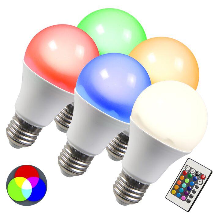 LED-lemputė-RGB-E27-3W,-5-komplektai