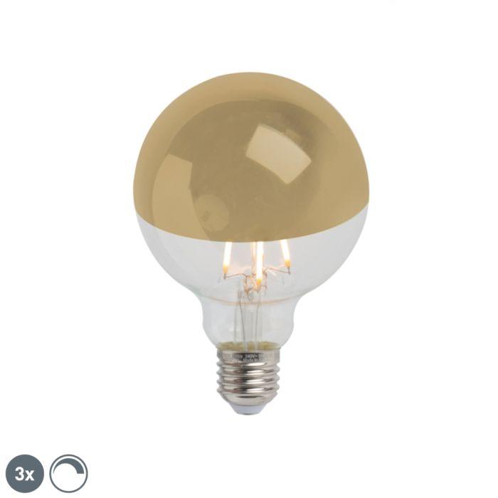 """Komplekte-yra-3-""""E27""""-pritemdomas-LED-pusiau-veidrodėlis-G95-auksinis-280lm-2300K"""