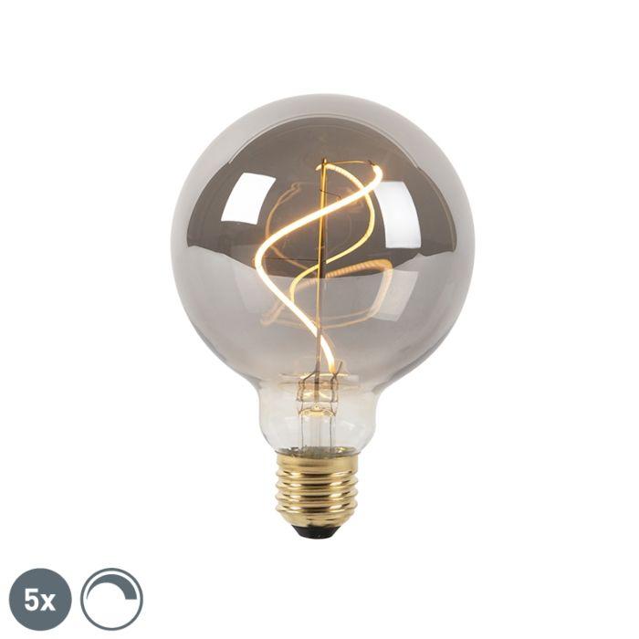 """5-reguliuojamų-E27-LED-kaitinamųjų-lempų-komplektas-""""smoke-G95-2100K"""""""