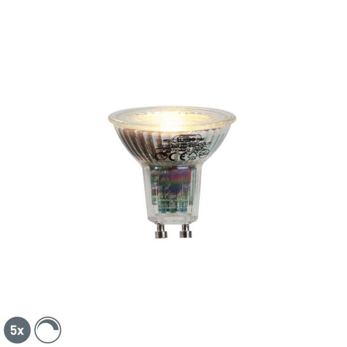 5-GU10-LED-lempos-rinkinys-6W-450lumen-2700K-pritemdomas