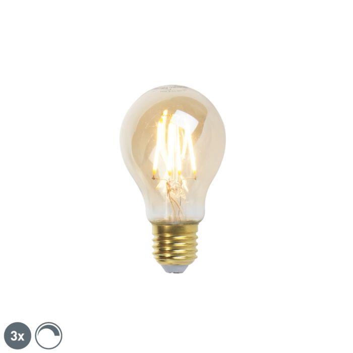"""3-""""E27""""-pritemdomų-LED-kaitinamųjų-lempų-""""Goldline-360lm-2200K""""-komplektas"""