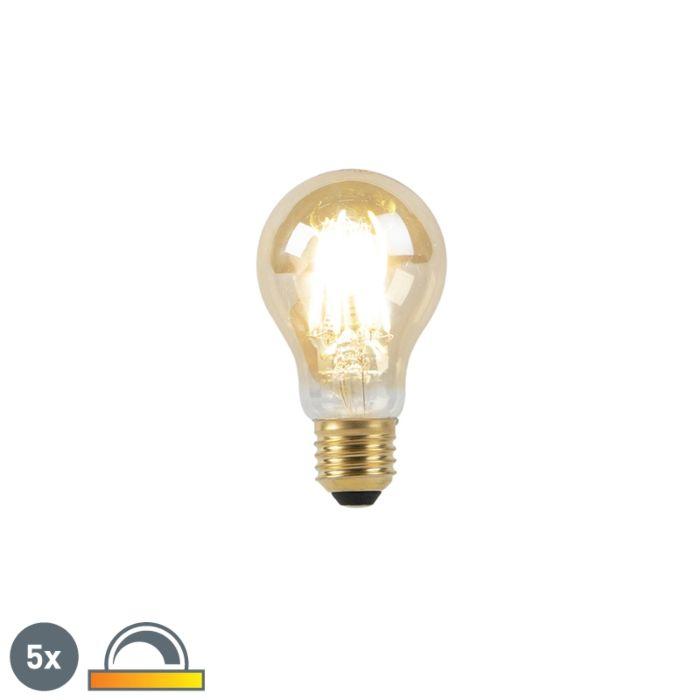 5-E27-LED-lempos-rinkinys-8W-2000-2600K-pritemdytas-iki-šilto-aukso-linijos-gijų