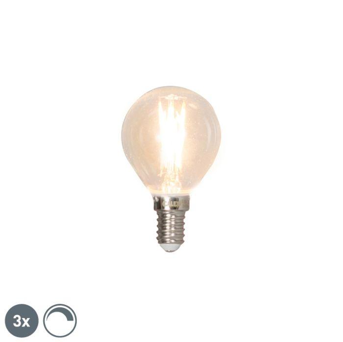 """3-""""E14""""-pritemdomų-LED-kaitinamųjų-rutulinių-lempų-rinkinys-3W-350lm-2700K"""