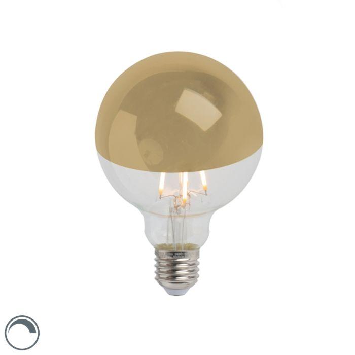 LED-kaitinamosios-lempos-galvos-veidrodis-auksinis-E27-240V-4W-280lm-2300K-G95-pritemdomas