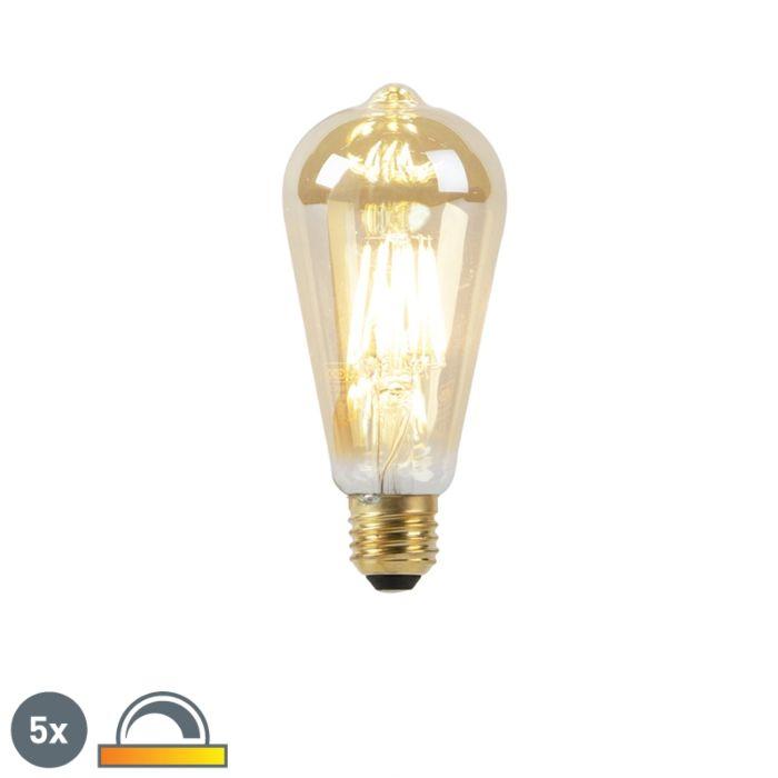 5-E27-LED-lempučių-rinkinys-8W-2000-2600K-pritemdytas-iki-šilto-aukso-linijos-gijų