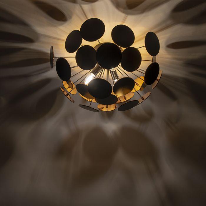 Dizaino-lubinė-lempa-juoda-su-auksu-54-cm-3-žibintų---Cerchio