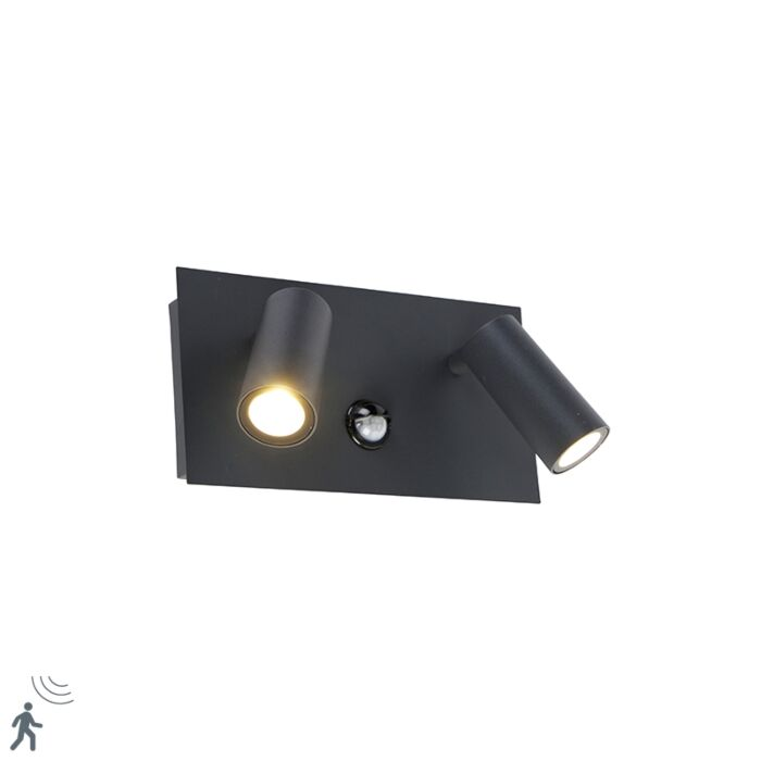 Lauko-sieninė-lempa-tamsiai-pilka-IP54-su-LED-judesio-jutikliu---Simon