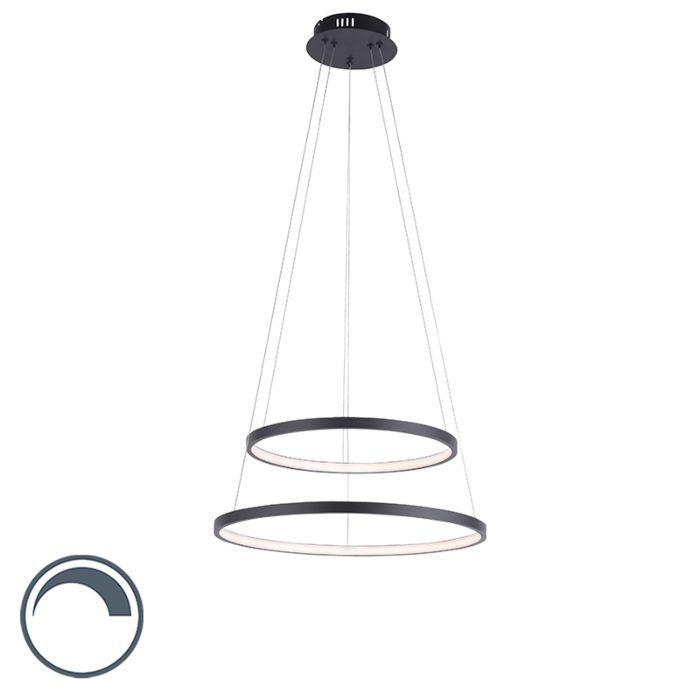 """Moderni-žiedinė-pakabinama-lempa-antracitas-su-LED-pritemdoma---""""Anella-Duo"""""""