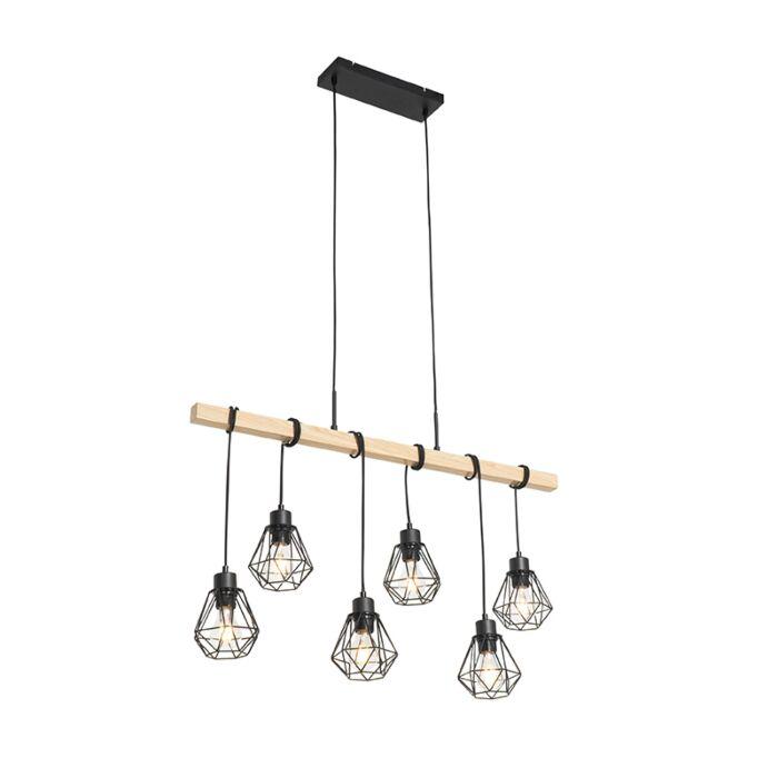 Šalies-pakabinama-lempa-juoda-su-medine-6-lempučių---Chon