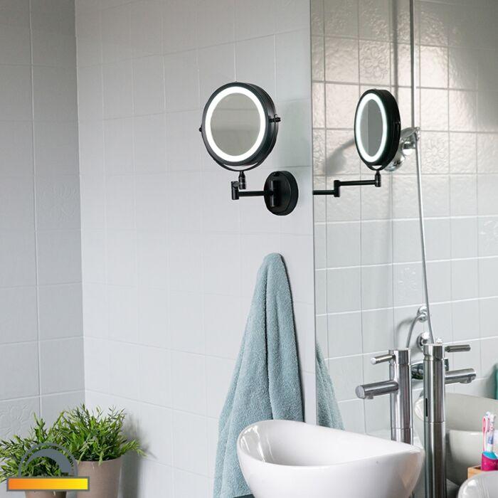 """Dizainas-vonios-veidrodis-juodas-su-reguliuojamu-LED-IP44---""""Vicino"""""""