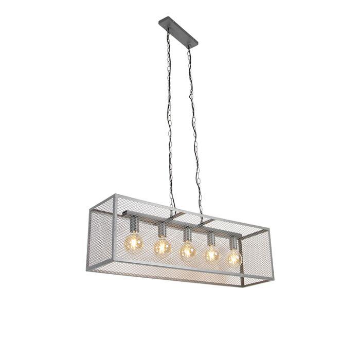 """Pramoninė-pakabinama-lempa-antikvarinė-sidabrinė-5-lempučių---""""Cage-Robusto"""""""
