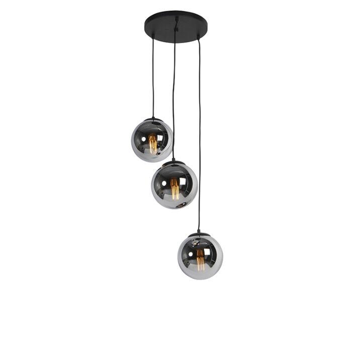 """""""Art-Deco""""-pakabinama-lempa-juoda-su-dūminiu-stiklu-3-žibintų---Pallon"""