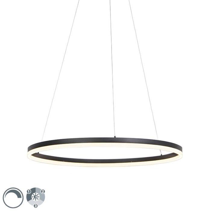"""Dizaino-žiedinis-pakabinamas-šviestuvas,-juodas-80-cm,-su-LED-ir-reguliatoriumi---""""Anello"""""""