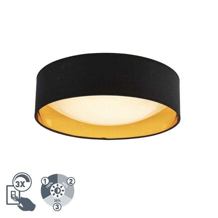"""Dizaino-lubinė-lempa-juoda-su-auksu-40-cm-su-LED---""""Drum-Combi"""""""