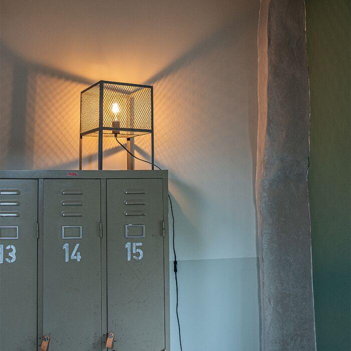 """Pramoninė-stalinė-lempa-antikvarinis-sidabras---""""Cage-Robusto"""""""