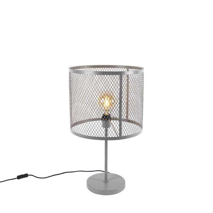 """Pramoninė-apvali-stalo-lempa,-antikvarinė-sidabrinė---""""Cage-Robusto"""""""