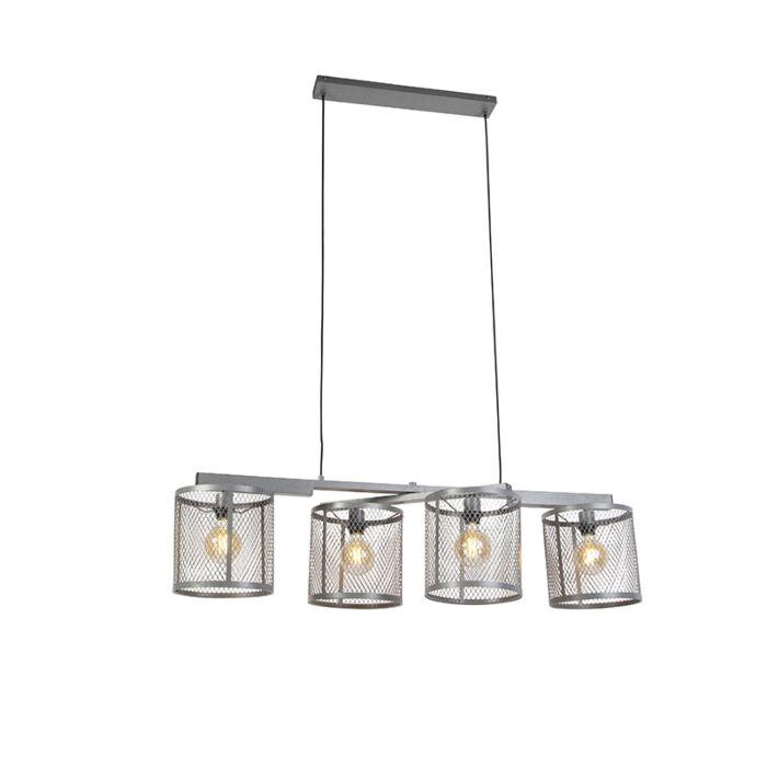 Pramoninė-pakabinama-lempa-senovinė-sidabrinė-4-lemputė---Cage-Robusto